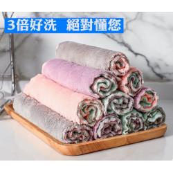 【5入】不用洗碗精,也能把碗盤洗的乾乾淨淨,超強吸水吸油,雙層加厚珊瑚絨不沾粘油懶人抹布廚房洗碗巾吸水清潔