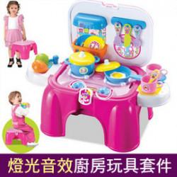 【兒童早教益智互動仿真認知玩具】仿真燈光音樂餐具椅子廚具組合,家家酒/益智玩具/功能椅音效兒童廚房玩具/互動親子玩具