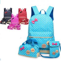【3件組兒童書包,揹包.後背包,腰包】書包,防潑水3個一組波點立體雙肩減壓後背包/書包/休閒旅遊揹包/兒童節禮物/休閒旅遊包